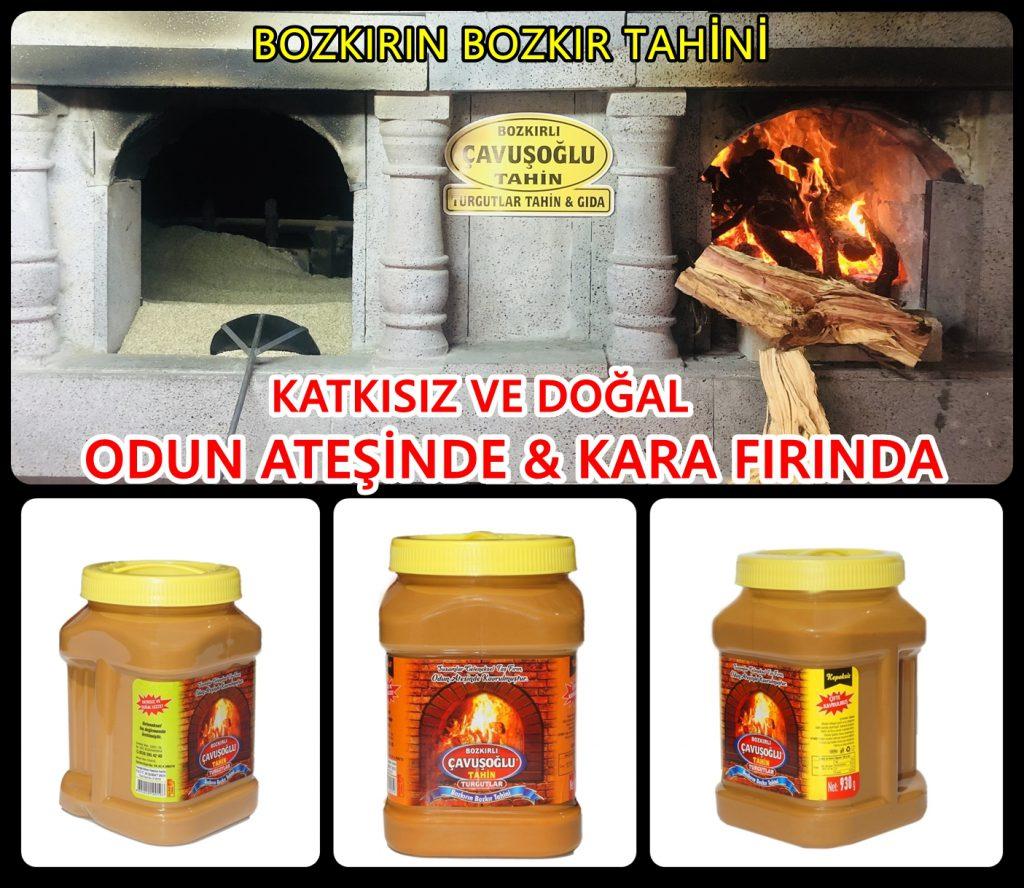 Bozkır tahini odun ateşinde.Bozkır tahini, Bozkırlı Çavuşoğlu markası ile odun ateşinde kara fırında üretilir, hiç bir katkı maddesi ve kimyasal madde bulunmaz.Susamın doğal haliyle tazece taş değirmenden sofralarınıza gelir.